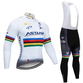 Ensemble cuissard vélo et maillot cyclisme hiver pro ASTANA 2019 UCI
