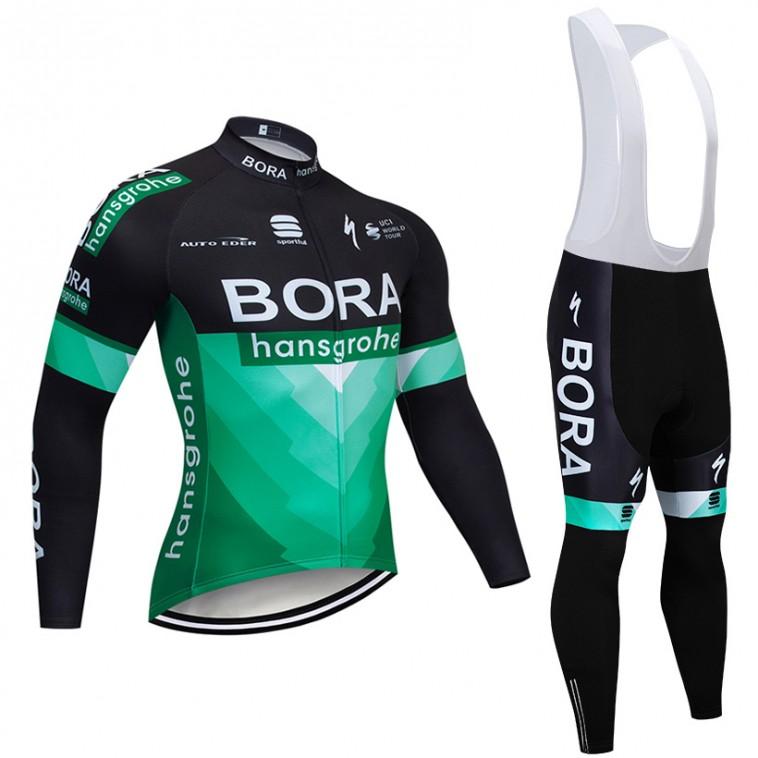 Ensemble cuissard vélo et maillot cyclisme hiver pro BORA 2019