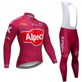 Ensemble cuissard vélo et maillot cyclisme hiver pro KATUSHA ALPECIN 2019 rouge
