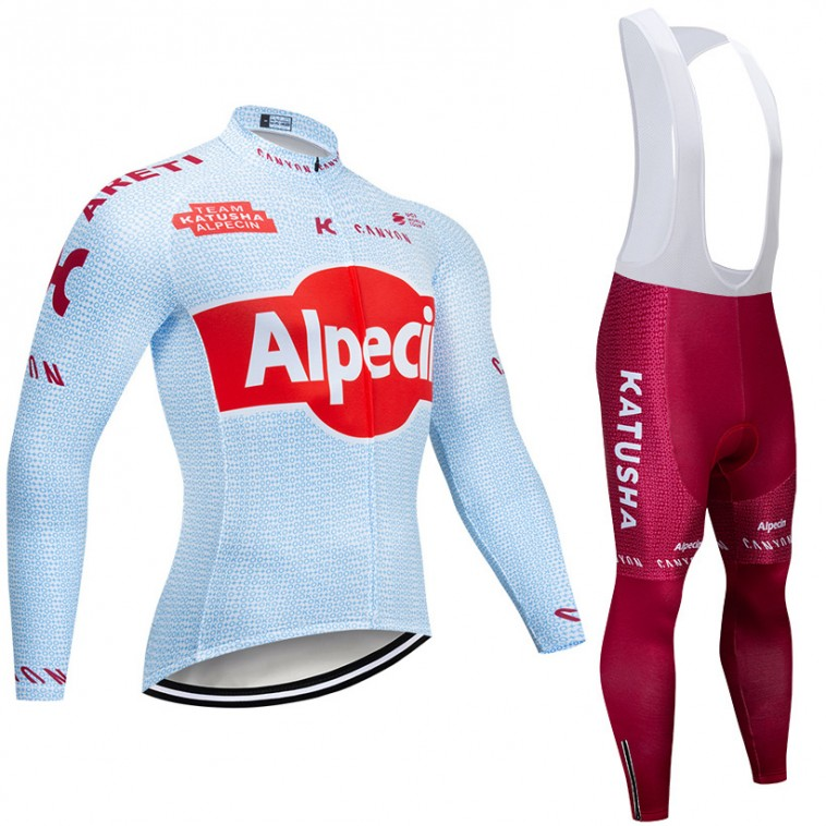 Ensemble cuissard vélo et maillot cyclisme hiver pro KATUSHA ALPECIN 2019