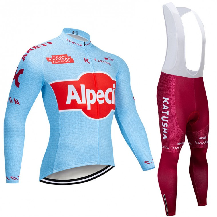 Ensemble cuissard vélo et maillot cyclisme hiver pro KATUSHA ALPECIN 2019 Bleu