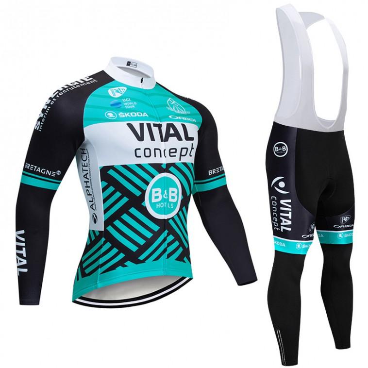 Ensemble cuissard vélo et maillot cyclisme hiver pro Vital Concept - B&B Hotels 2019