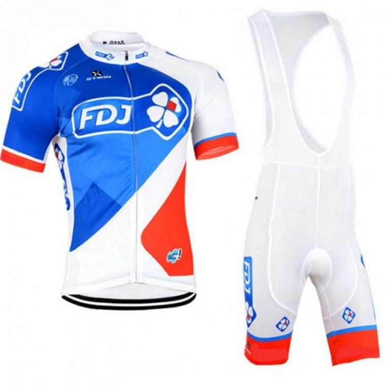 Ensemble cuissard vélo et maillot cyclisme équipe pro FDJ