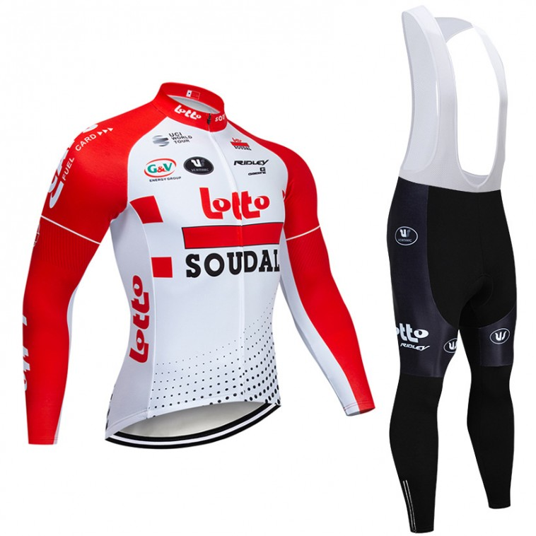 Ensemble cuissard vélo et maillot cyclisme hiver pro Lotto Soudal 2019