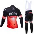 Ensemble cuissard vélo et maillot cyclisme hiver pro BORA 2019 Rouge