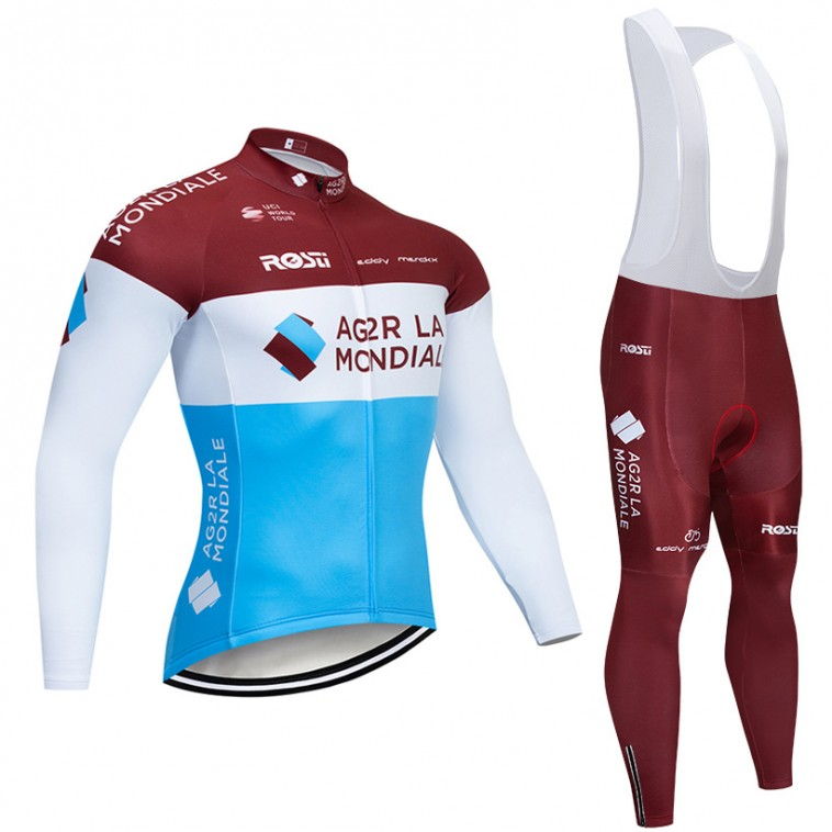 Ensemble cuissard vélo et maillot cyclisme hiver pro AG2R La Mondiale 2019