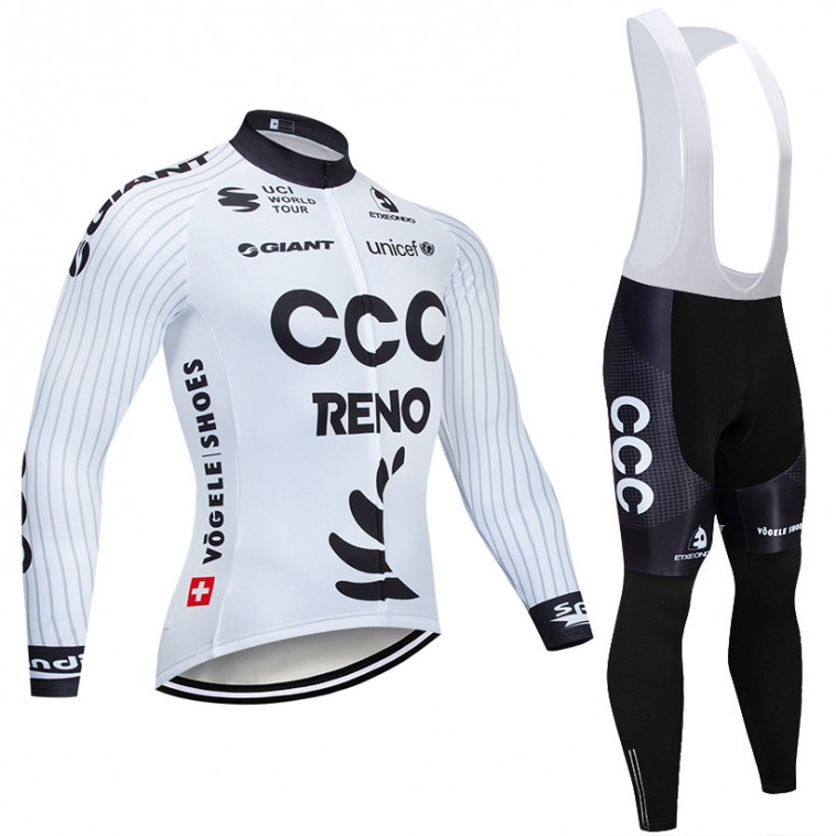 Ensemble cuissard vélo et maillot cyclisme hiver pro CCC RENO 2019 Blanc