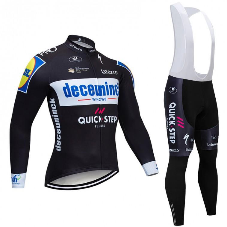 Ensemble cuissard vélo et maillot cyclisme hiver pro DECEUNINCK QUICK STEP 2019 Noir