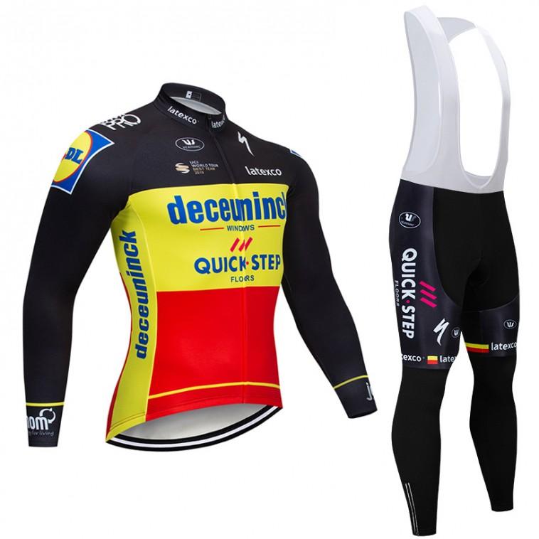 Ensemble cuissard vélo et maillot cyclisme hiver pro DECEUNINCK QUICK STEP 2019 Belgique