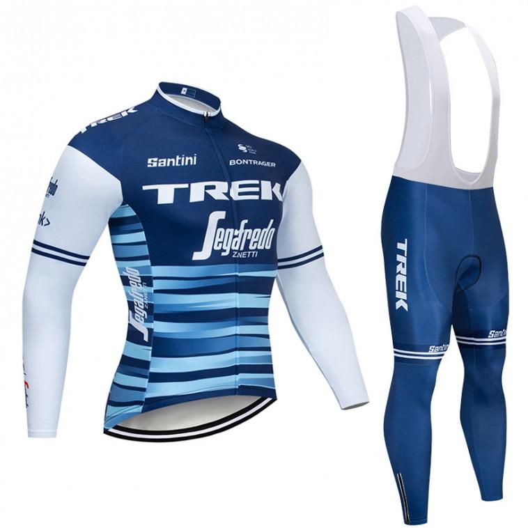 Ensemble cuissard vélo et maillot cyclisme hiver pro TREK Segafredo 2019 bleu