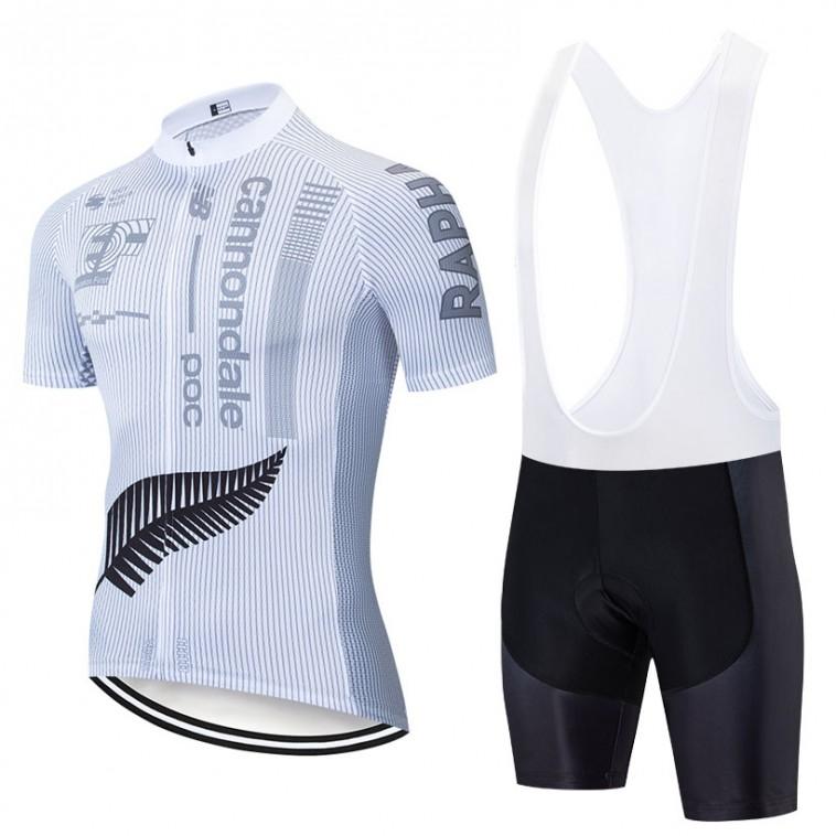 Ensemble cuissard vélo et maillot cyclisme pro EF Education First 2019 Rapha blanc