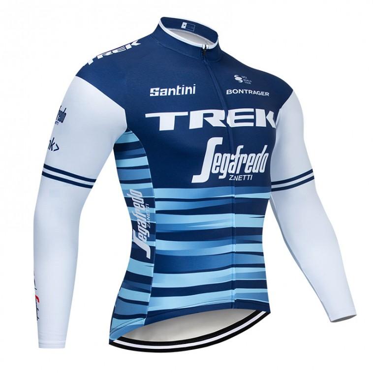 Maillot vélo hiver pro TREK Segafredo 2019 Bleu