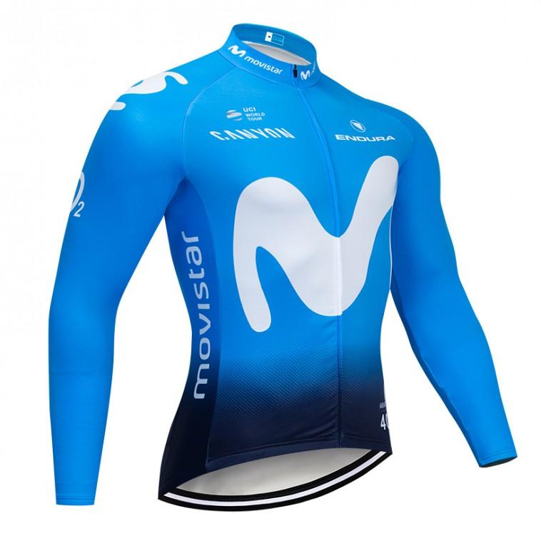 Maillot vélo hiver pro MOVISTAR 2019