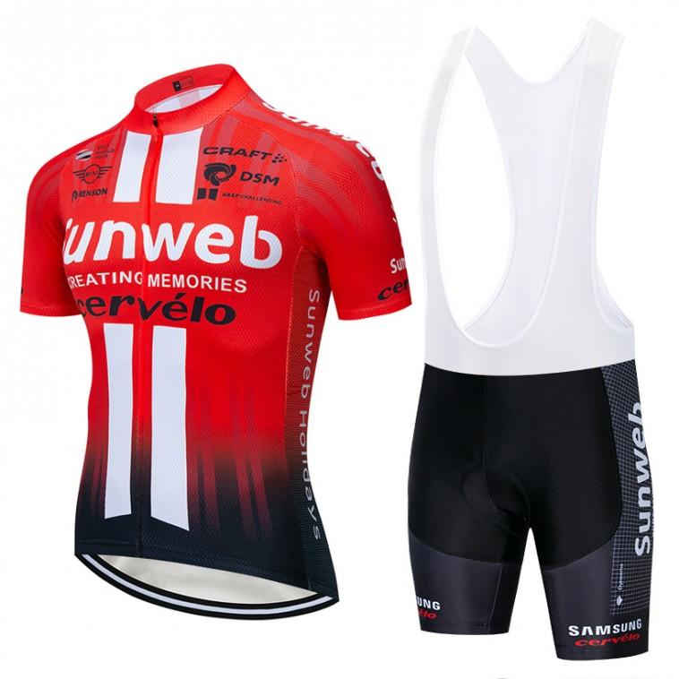 Ensemble cuissard vélo et maillot cyclisme équipe pro SUNWEB 2019