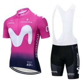 Ensemble cuissard vélo et maillot cyclisme pro MOVISTAR 2019 Rose