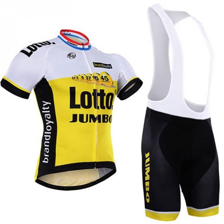 Ensemble cuissard vélo et maillot cyclisme équipe pro Lotto Jumbo