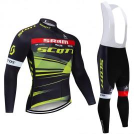 Ensemble cuissard vélo et maillot cyclisme hiver pro SCOTT SRAM 2019