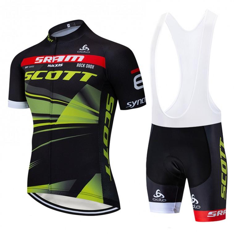 Ensemble cuissard vélo et maillot cyclisme équipe pro SCOTT SRAM 2019