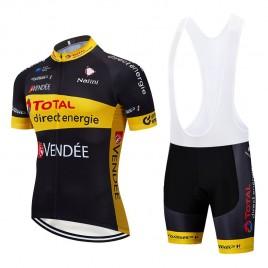 Ensemble cuissard vélo et maillot cyclisme équipe pro TOTAL Direct Energie 2019 black edition