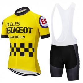 Ensemble cuissard vélo et maillot cyclisme pro vintage PEUGEOT jaune