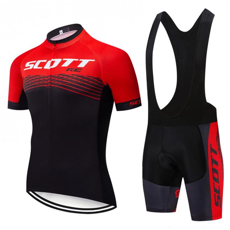 Ensemble cuissard vélo et maillot cyclisme pro Scott Rc Team 2019 rouge
