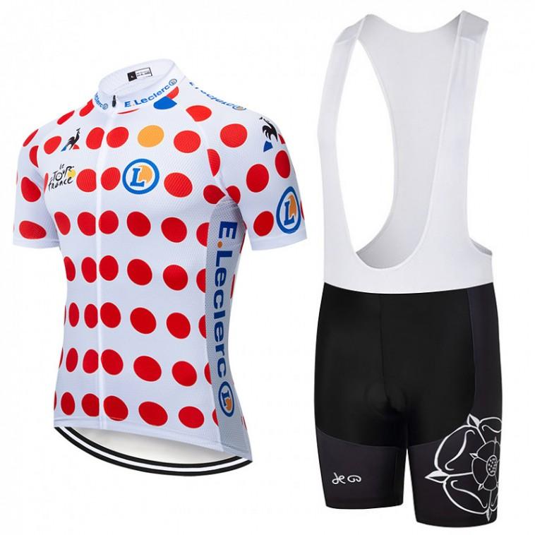 Ensemble cuissard vélo et maillot à Pois Tour de France 2019 Leclerc