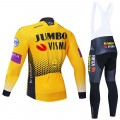 Ensemble cuissard vélo et maillot cyclisme hiver pro JUMBO VISMA 2019