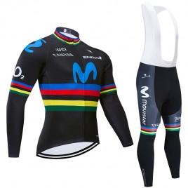 Ensemble cuissard vélo et maillot cyclisme hiver pro MOVISTAR UCI 2019 noir