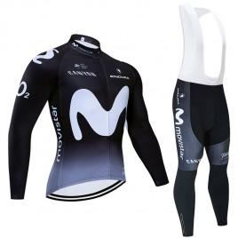 Ensemble cuissard vélo et maillot cyclisme hiver pro MOVISTAR 2019 noir