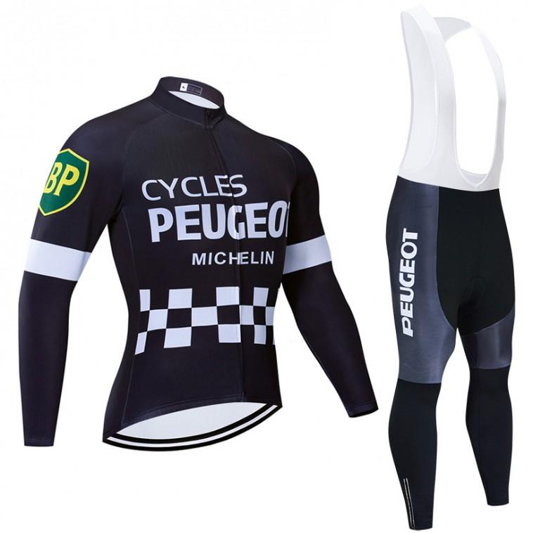 Ensemble cuissard vélo et maillot cyclisme hiver pro vintage PEUGEOT MICHELIN