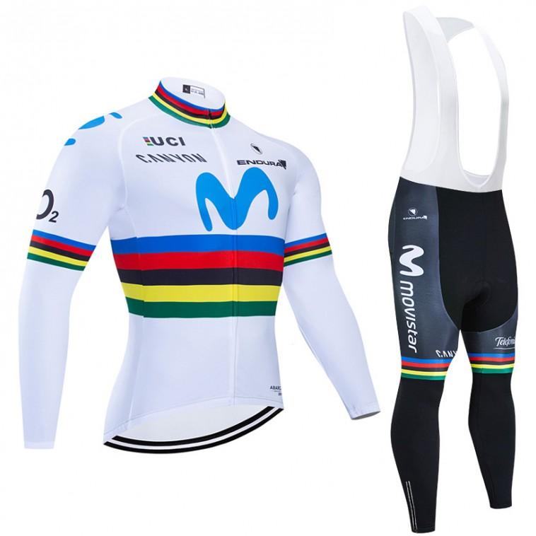 Ensemble cuissard vélo et maillot cyclisme hiver pro MOVISTAR UCI 2019