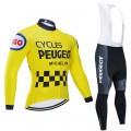 Ensemble cuissard vélo et maillot cyclisme hiver pro vintage PEUGEOT MICHELIN Jaune