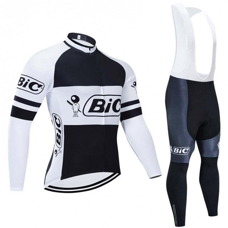 Ensemble cuissard vélo et maillot cyclisme hiver pro vintage BIC noir