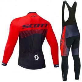 Ensemble cuissard vélo et maillot cyclisme hiver pro Scott Rc Team 2019 rouge