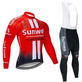 Ensemble cuissard vélo et maillot cyclisme hiver pro SUNWEB 2019