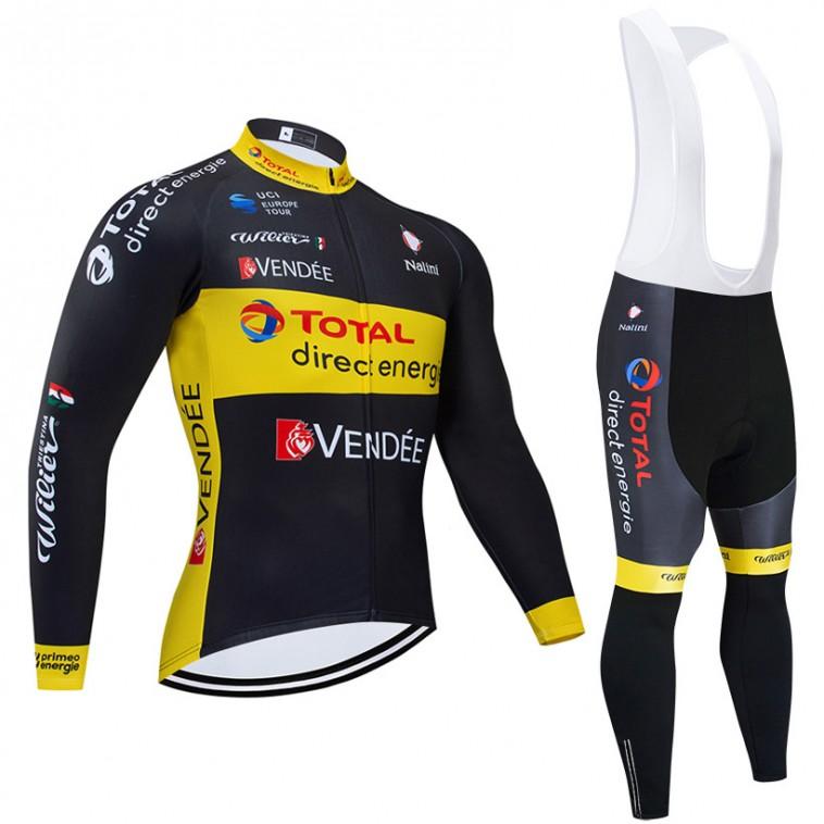 Ensemble cuissard vélo et maillot cyclisme hiver pro TOTAL Direct Energie 2019 black edition