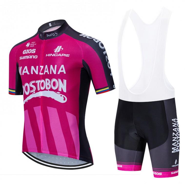 Ensemble cuissard vélo et maillot cyclisme équipe pro Manzana Postobon 2020 Aero Mesh