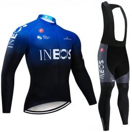 Ensemble cuissard vélo et maillot cyclisme hiver pro INEOS 2019 Blue Edition