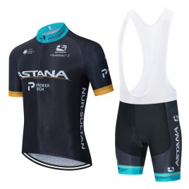 Ensemble cuissard vélo et maillot cyclisme équipe pro ASTANA 2020 Aero Mesh Noir