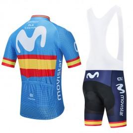 Ensemble cuissard vélo et maillot cyclisme équipe pro MOVISTAR Espagne 2020 Aero Mesh