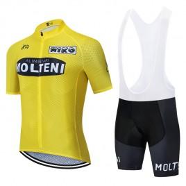 Ensemble cuissard vélo et maillot cyclisme pro vintage MOLTENI Aero Mesh Jaune