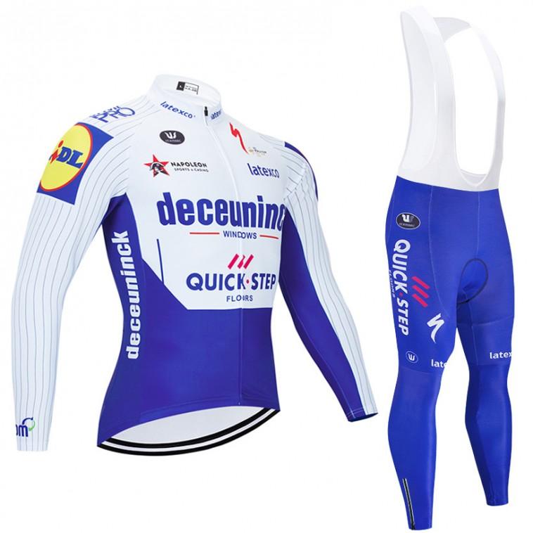 Ensemble cuissard vélo et maillot cyclisme hiver pro DECEUNINCK QUICK STEP 2020