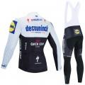 Ensemble cuissard vélo et maillot cyclisme hiver pro DECEUNINCK QUICK STEP 2020 Noir