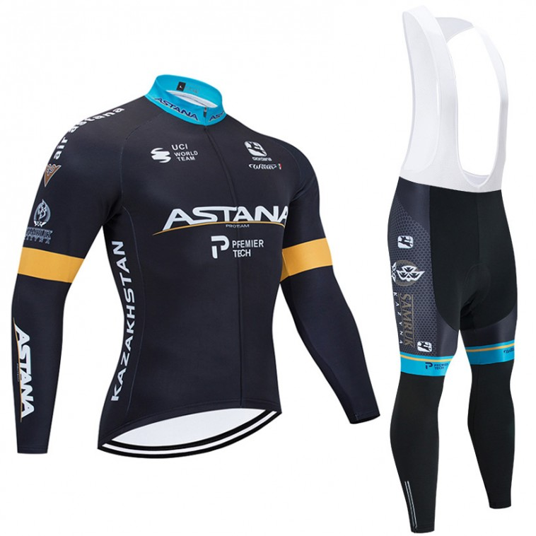 Ensemble cuissard vélo et maillot cyclisme hiver pro ASTANA 2020 noir