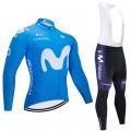 Ensemble cuissard vélo et maillot cyclisme hiver pro MOVISTAR 2020