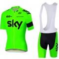 Ensemble cuissard vélo et maillot cyclisme équipe pro SKY fluo