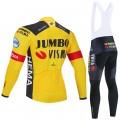 Ensemble cuissard vélo et maillot cyclisme hiver pro JUMBO VISMA 2020