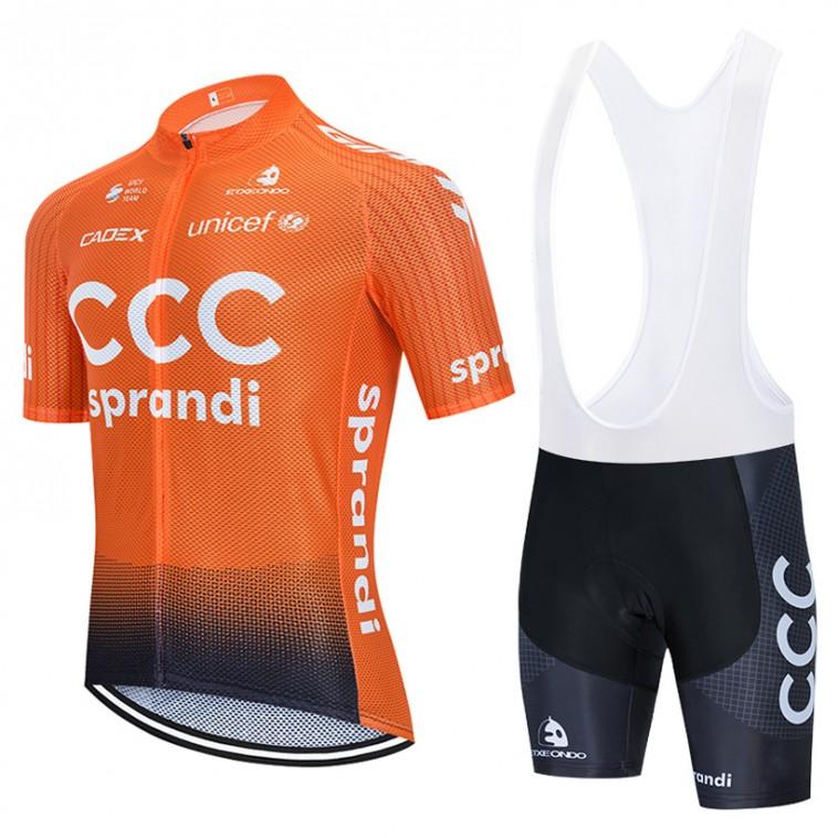 Ensemble cuissard vélo et maillot cyclisme équipe pro CCC Sprandi 2020 Aero Mesh