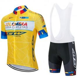 Ensemble cuissard vélo et maillot cyclisme équipe pro Colombia Tierra 2020 Aero Mesh