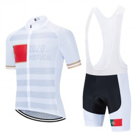 Ensemble cuissard vélo et maillot cyclisme pro PORTUGAL 2020 Blanc Aero Mesh